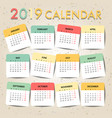 pastel color calendar for 2019 template design vector image
