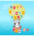poster cute raccoon flying in a balloon cartoon vector image vector image