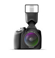 Realistic camera with external flash vector image