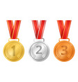 realistic detailed 3d champion different medals vector image vector image