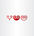 red spiral heart icon set vector image vector image