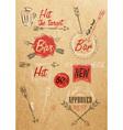 Set emblem of Bar Boom Arrow kraft paper vector image vector image
