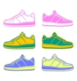 Speeding running shoe icons color variations logo vector image