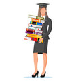 student businesswoman holding stack books vector image