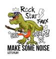 t-rex rock star print design vector image vector image