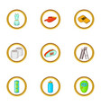 tennis court icons set cartoon style vector image vector image