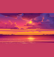 tropical landscape with ocean and sunset vector image vector image