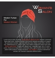 Woman with hair in red turban vector image vector image