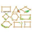 wooden frame made of bamboo sticks set frames of vector image vector image
