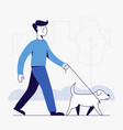 young man and dog walking in park vector image