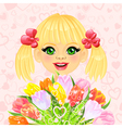 beautiful little girl with a big bouquet vector image