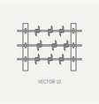 line flat military icon - barbed wire army vector image