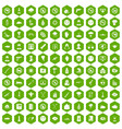 100 tension icons hexagon green vector image vector image