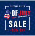 4 july independence day usa sale banner blue vector image vector image