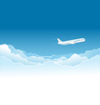 airplane flying high in sky vector image vector image