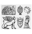 ancient greece antique symbols ganymede and eagle vector image vector image