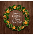 Aromatic Decorated Christmas Wreath on Wooden Door vector image