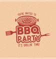 bbq party typography poster template in retro old vector image vector image