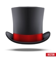 Black gentleman hat cylinder with red ribbon vector image vector image