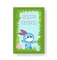 blue cartoon bunny wearing a face mask vector image vector image