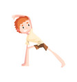 boy practicing capoeira kid character doing vector image vector image