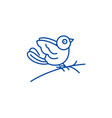 Bullfinch line icon concept bullfinch flat