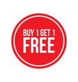 buy one get one free sign numbers circular vector image