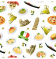 cartoon italian cuisine elements pattern or vector image vector image