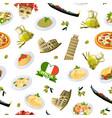 cartoon italian cuisine elements pattern vector image