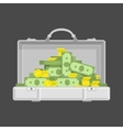 Chrome suitcase with money vector image vector image