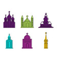 church icon set color outline style vector image vector image