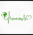 Creative Happy Earth Day Greeting with Heartbeat vector image vector image