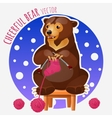 Cute bear knit pink sock sitting on a stool vector image vector image