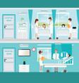 doctor and patient in hospital room with beds vector image vector image