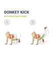donkey kick with resistance band girls workout vector image