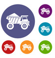 dump truck with sand icons set vector image vector image