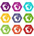 earth globe icon set color hexahedron vector image vector image