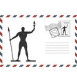 envelope with hand drawn rhodes on greece island vector image vector image