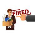 fired businessman carrying a box vector image