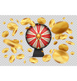 fortune wheel with gold coins lucky roulette on vector image vector image