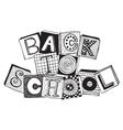Hand drawn phrase back to school in doodle fancy