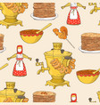 hand drawn shrovetide or maslenitsa seamless vector image