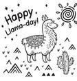 happy llama day ink cartoon llama print vector image vector image