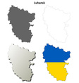Luhansk blank outline map set - Ukrainian version vector image vector image
