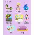 Many words begin with alphabet S vector image vector image