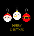 merry christmas ball toy hanging icon set tree vector image vector image