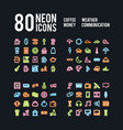 miscellaneous neon icons of beverages weather vector image