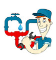 plumber and water pipes vector image
