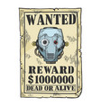 poster with robot engraving vector image vector image