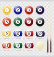 realistic pool - billiard balls and cue vector image vector image